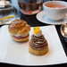 Choux puff with cassis and violet and the citrus Mont Blanc