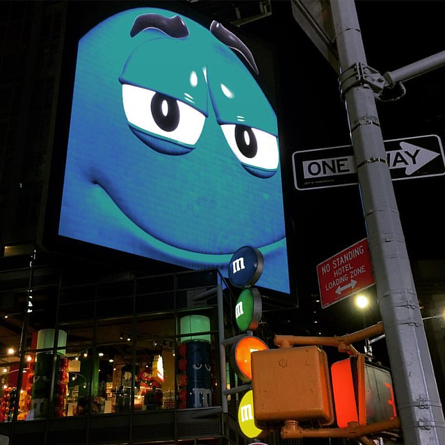 Big blue motherfucker. #nyc #mandms #bluestuff #timessquare