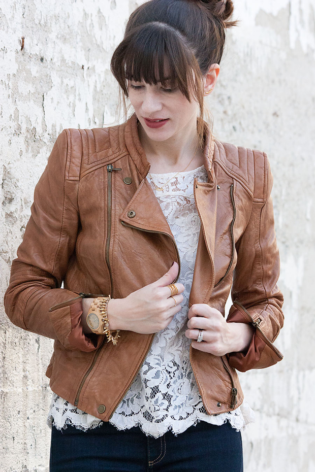 Cognac leather jacket, lace tee