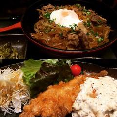 hubs' miyazaki beef shigure donburi & my tori nanban @ mansaku  #grandfrontosaka #mansaku #latergram #グランドフロント#大阪 #宮崎料理万作 #鳥南蛮 #宮崎牛しぐれ丼