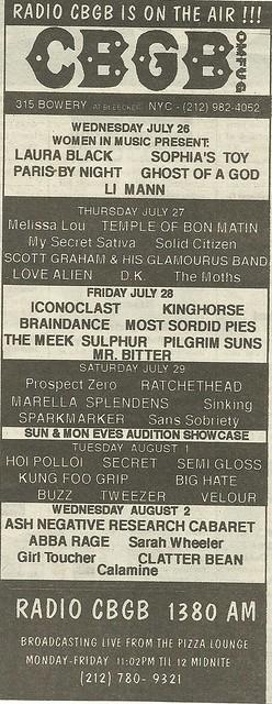 07/26/95 - 08/02/95 CBGB, NYC, NY