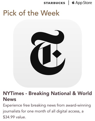 Starbucks iTunes Pick of the Week - NYTimes - Breaking National & World News