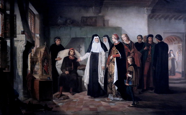 IMG_3520L Edouard Auguste Wallays. 1813-1891.  Bruges.  Memling peignant la châsse de  Sainte Ursule pendant une visite de Marie de Bourgogne. Memling painting the shrine of Saint Ursula during a visit to Mary of Burgundy. 1866.    Bruges. Groeninge Museu