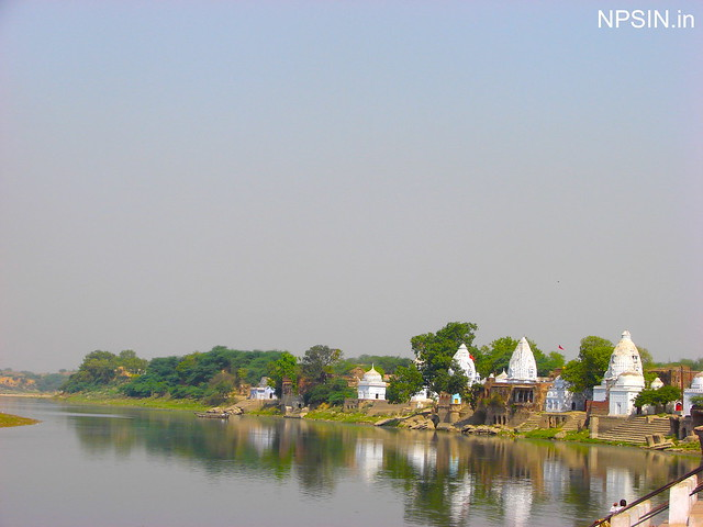 A series of temples on the bank of river Yamuna in Baba Bateshwarnath Dham Agra