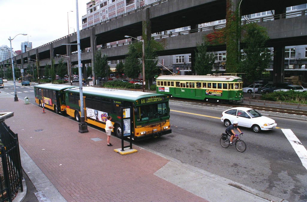 Throwback Thursday: Streetcar and bus, Seattle Waterfront, 1997