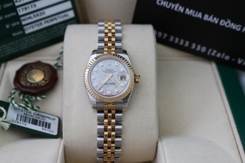 Đồng hồ rolex datejust 6 số Nữ 179173 – mặt đá thiên thạch – đè mi vàng – size 26