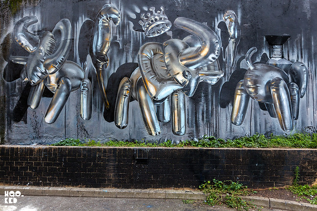 London street art by artist Fanakapan featuring helium Elephants Mural on Brick Lane, London
