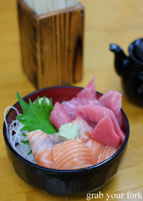Tuna and salmon sashimi mini rice bowl at Kondounoboru at Nijo Market, Sapporo