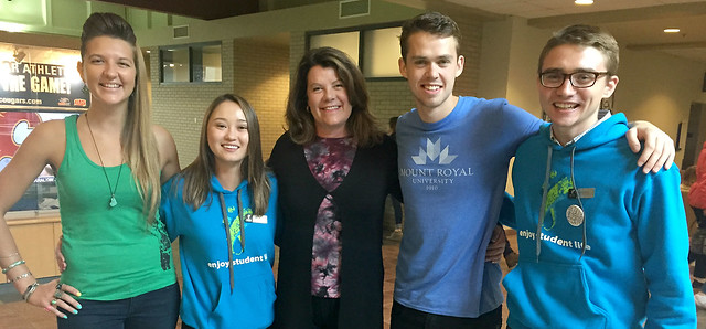 Minister Sigurdson with Mount Royal University student leaders