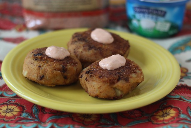 Savory Red Lentil and Potato Cakes with Harissa Yogurt Sauce