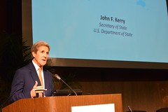 U.S. Secretary of State John Kerry delivers remarks at the 2015 Global Diaspora Week Launch Event in the Loy Henderson Room at the U.S. Department of State in Washington, D.C. on October 9, 2015. [State Department Photo/Public Domain]