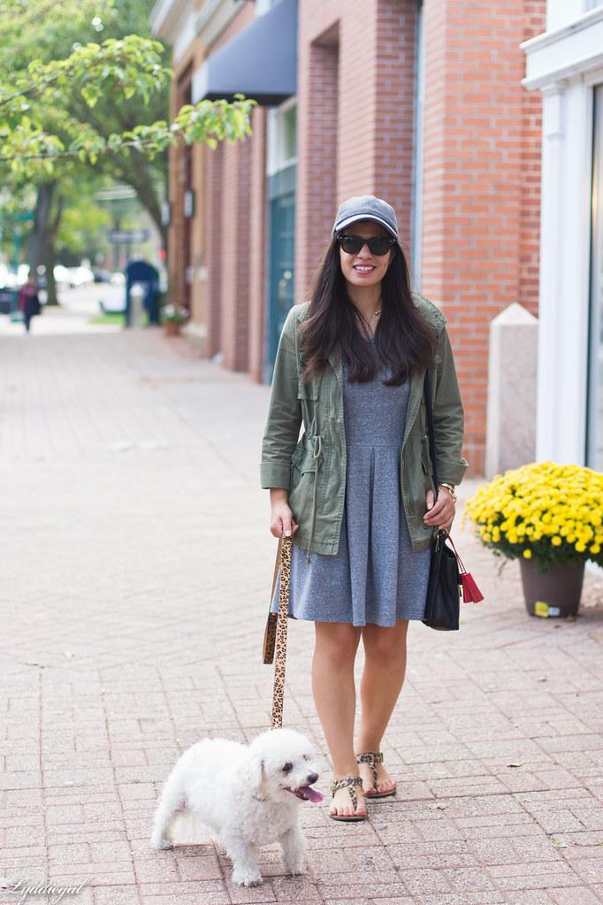 grey sweatshirt dress, field jacket, wool ball cap, dog walking-4.jpg