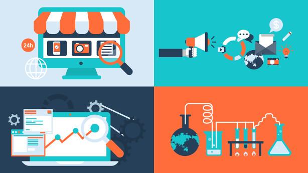 AE模板-100组新媒体MG动画商务场景信息图表扁平化风格市场营销购物模版