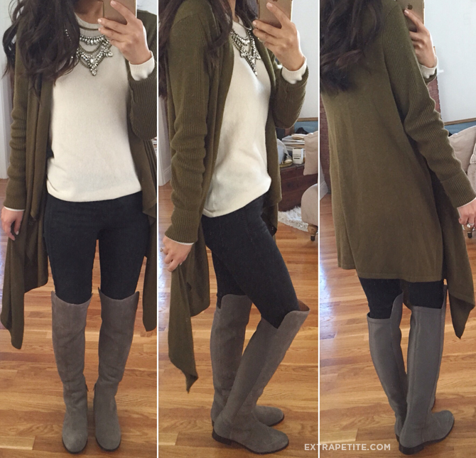 over the knee boots cardigan fall outfit