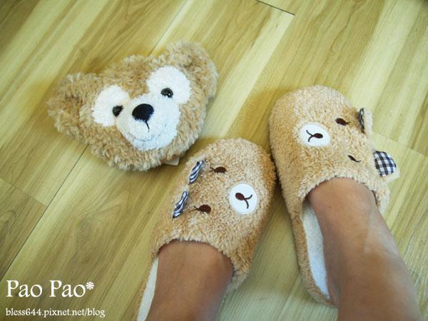 可愛小熊 立體耳朵造型 柔軟絨毛室內拖鞋