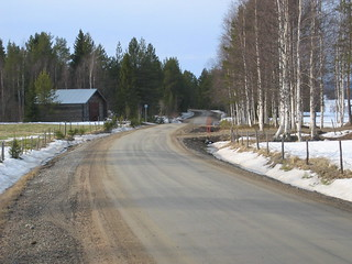 Finland Roavniemi Good gravel road dring spring thaw