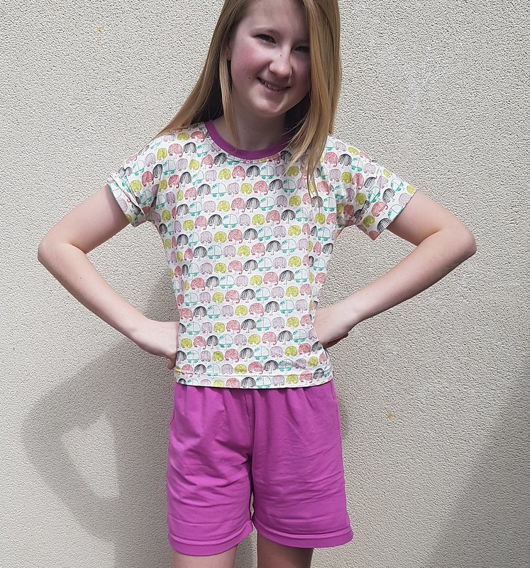 pyjamas - Oliver + S Sunny Day shorts and Lunch Box Tee in cotton lycra knits
