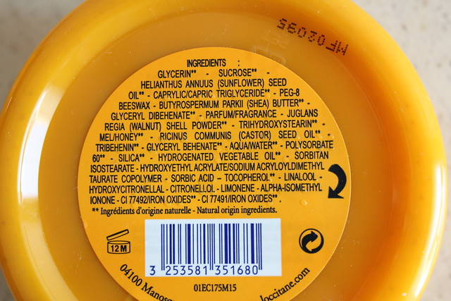 L'Occitane Melting Honey Exfoliating Sugars ingredients
