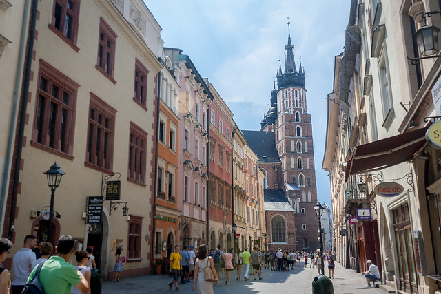 Coming into the town square, Kraków