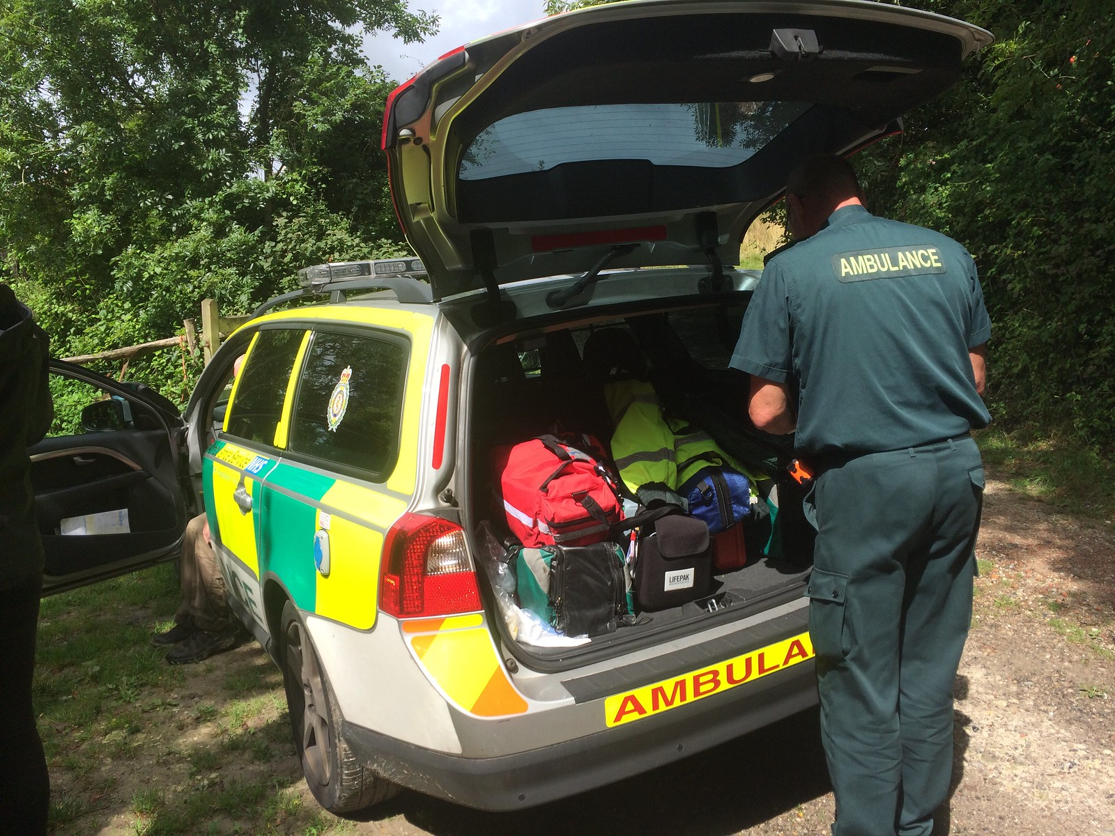 August 23, 2015: Hassocks to Devil's Dyke Ambulance paramedic attending to injured rambler