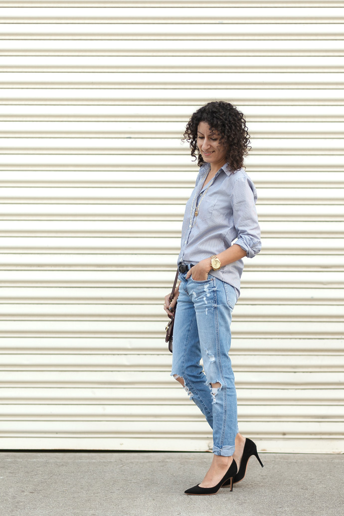 Petite-Friendly Slouchy Destroyed Denim