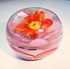 Vintage Small Round Art Glass Paperweight w/ Pink, Orange & Yellow Flower