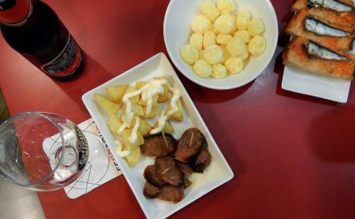 Tapas for dinner in Santiago de Compostela, Spain