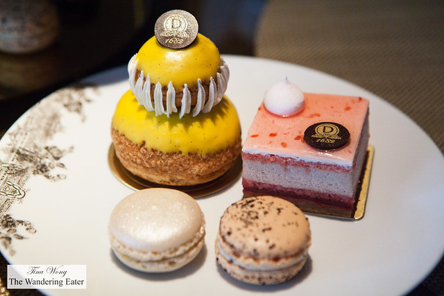 Our individual pastry selection - Religeuse passion fruit, Cognac and Earl Grey macarons & Tendresse de Fruits