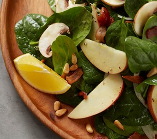 Spinach & Apple Salad with Warm Meyer Lemon-Bacon Vinaigrette