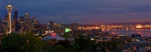 Seattle panorama at sunset