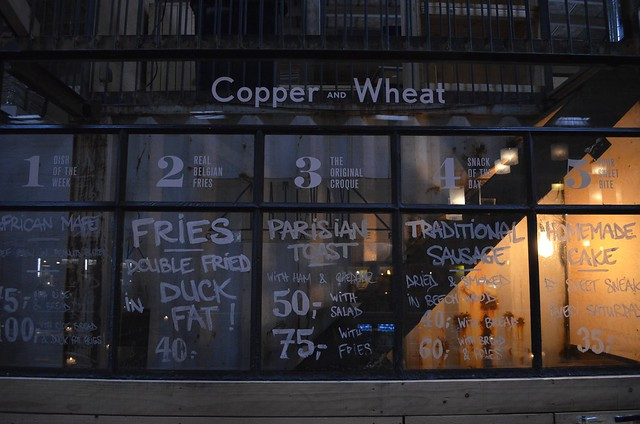 Copenhagen Street Food at Paper Island Copper + Wheat menu with fries double fried in duck fat