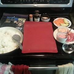 Date night with @vjmiddleton (@vmiddleton on twitter). Homemade sushi prep underway.