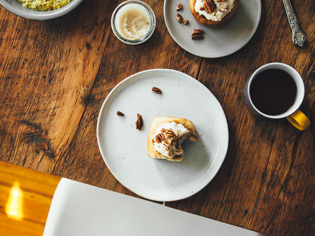 Small batch apple cider cinnamon rolls with coconut oil frosting