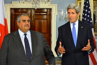 Secretary Kerry and Bahraini Foreign Minister al-Khalifa Address Reporters After Their Meeting in Washington