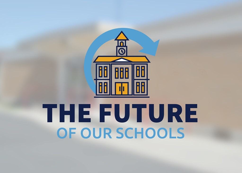 Vist Elementary with school graphic and text 'The Future of Our Schools'