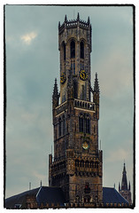 The Belfry (Market Square - Bruges) (Church Our lady in background) (Cross Process Effect) (Olympus OMD EM5II & Leica f1.4 25mm DG Summilux Prime)