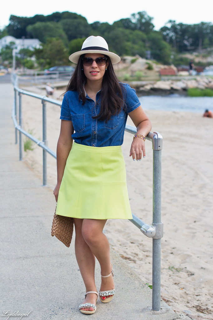chambray shirt, neon skirt, panama hat-9.jpg