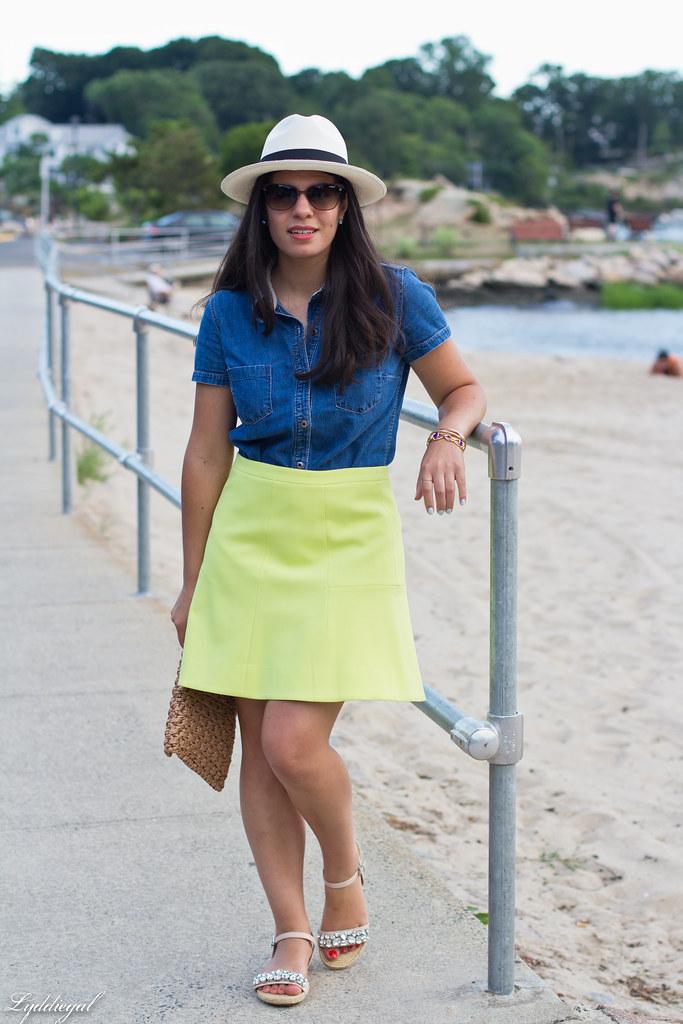 chambray shirt, neon skirt, panama hat-9.jpg