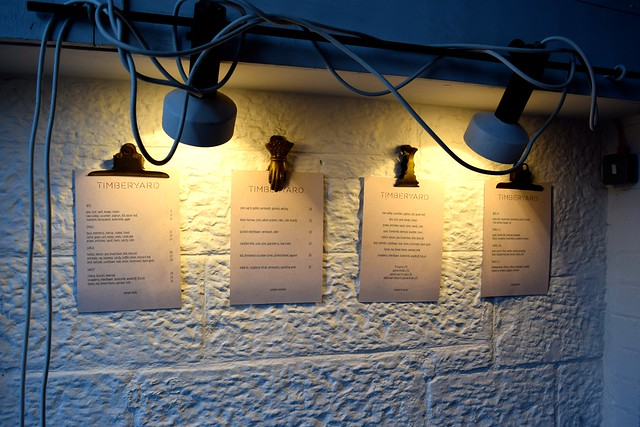 Menus at Timberyard, Edinburgh