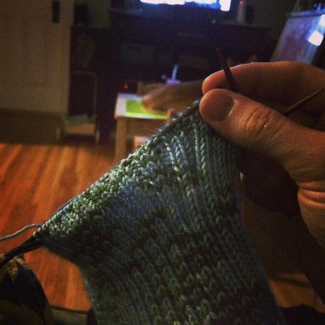 8:30pm - knitting and Portlandia before bed. #adayinthelifephotochallenge