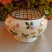 Wedgwood Porcelain Wild Strawberry Rose Bowl with Metal Flower Frog
