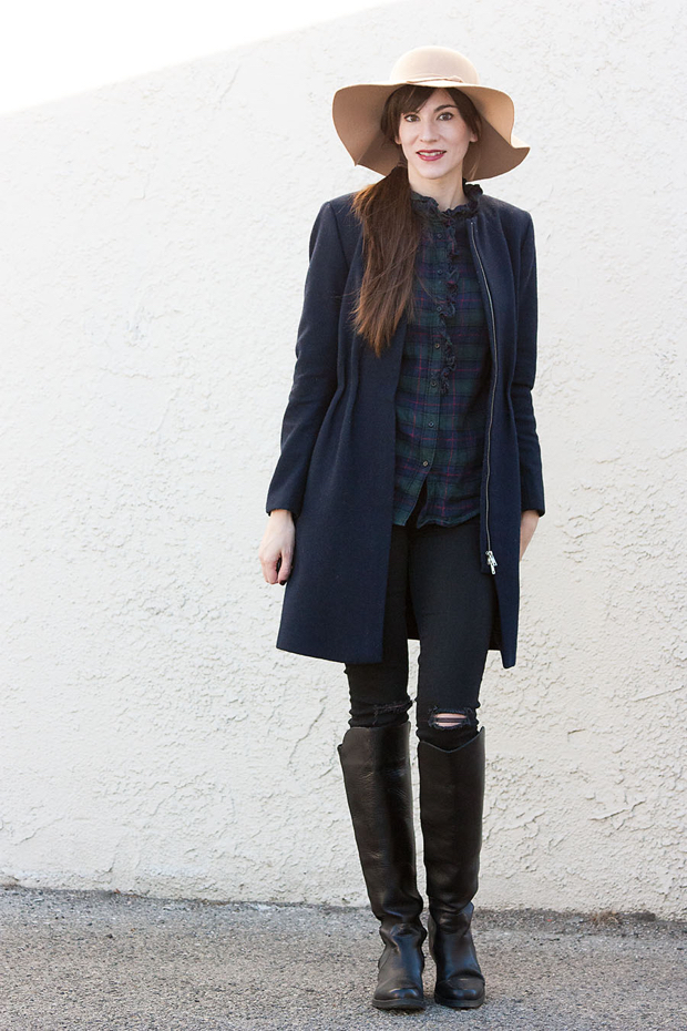 Exalted Heights Boutique Hat, Navy Plaid Shirt, Knee High Boots