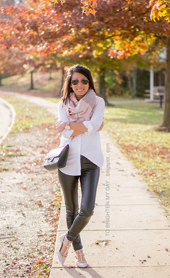 pink and gray blanket scarf, white button up shirt, faux leather pants, oversized watch, watercolor flats with studs