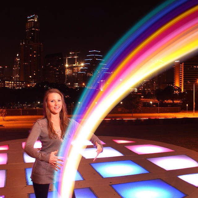 Lisa dreaming of a night rainbow & her wish coming true! #yogagirl #model #pose #ANourse #skyscape #photographer #girl