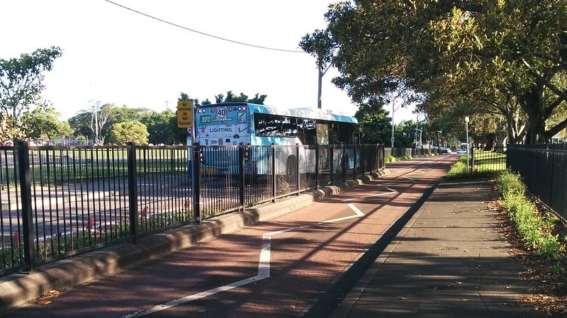 Bus way outside Moore Park/Hordern Pavilion