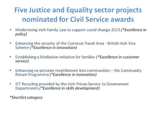 Five shortlisted projects from the Justice and Equality sector for the Civil Service Excellence and Innovation Awards ceremony
