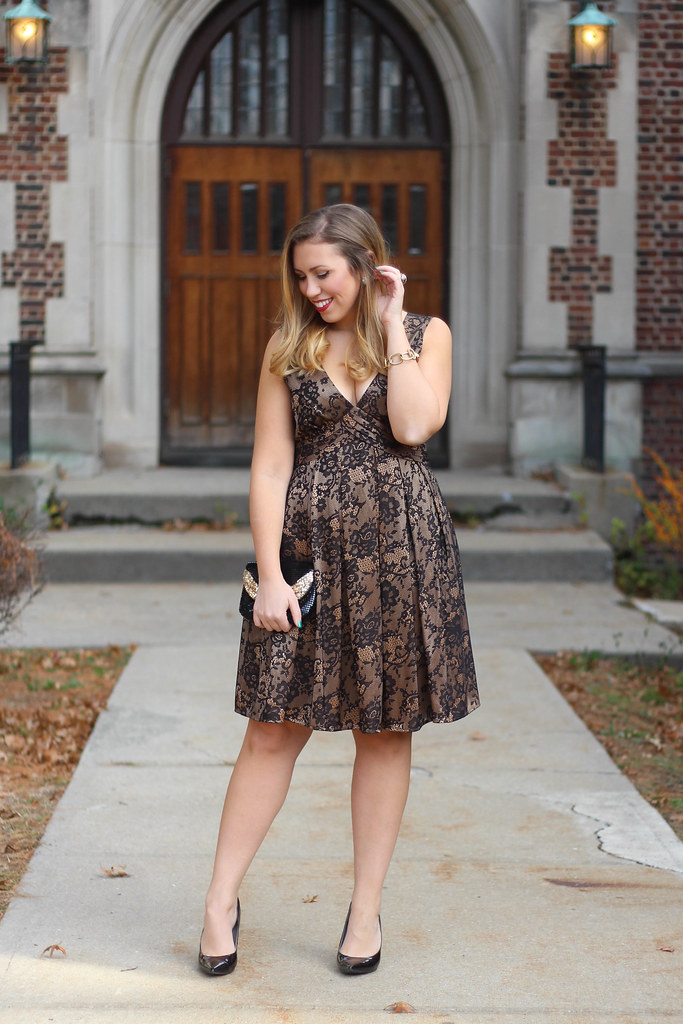 Black & Gold Lace Holiday Dress | Reindeer Ears | Christmas Presents
