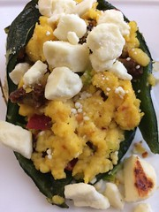 Breakfast stuffed poblano pepper