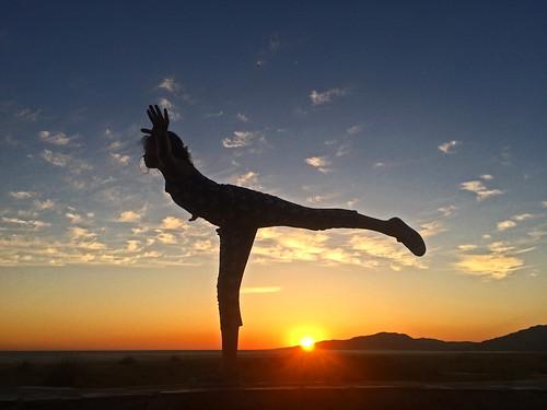 sunset gym tarifa pose ballet stretch atlantic mediterranean