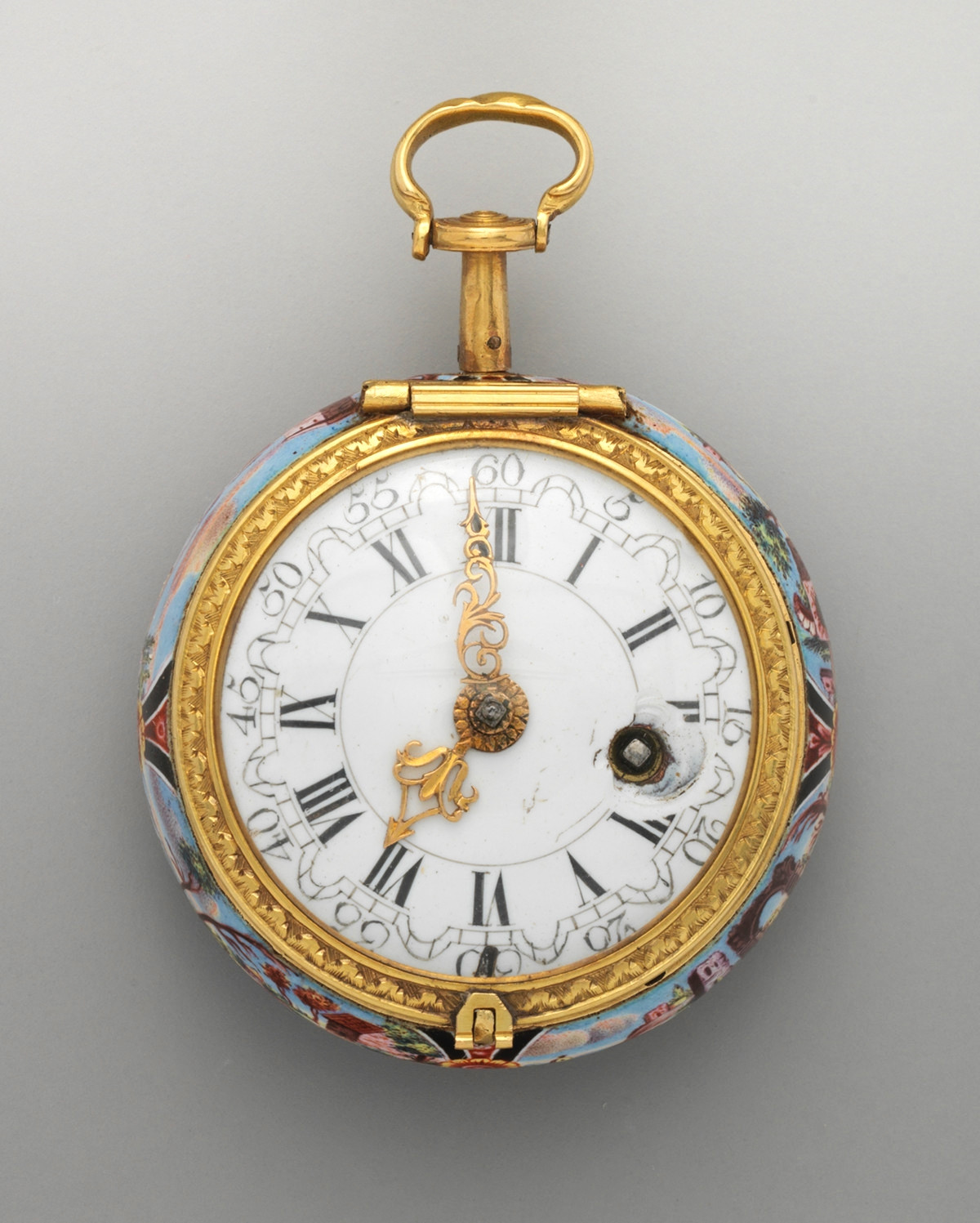 1740. Watch. British, London. Enamel, silver. metmuseum